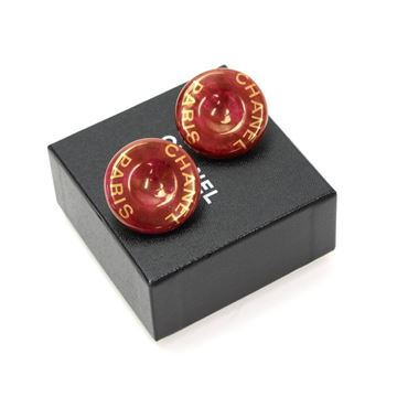 Chanel Red & Gold Tone Large Round Vintage Clip On Earrings