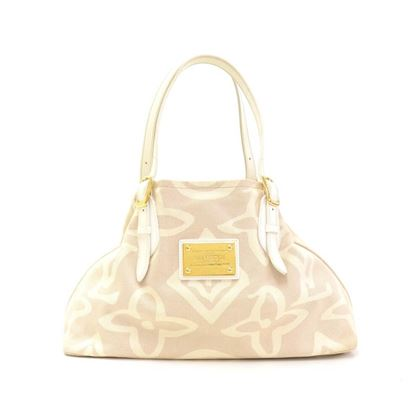 Louis Vuitton Tahitienne Cabas White Leather & Beige Canvas Limited Edition Tote Top Hanlde Bag