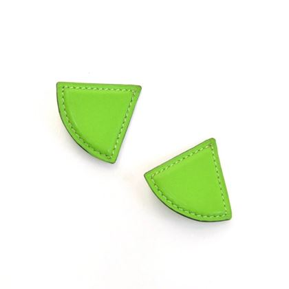 Hermes Green Leather Triangle Shaped ladies clip on Earrings