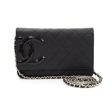 Chanel Cambon Black Quilted Leather Wallet On Long Shoulder Bag