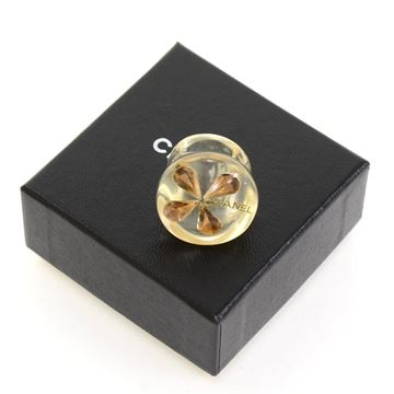 Chanel Brown Clover Motif Clear Vintage Ring