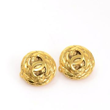 Chanel Gold Tone CC Logo Round Vintage Earrings