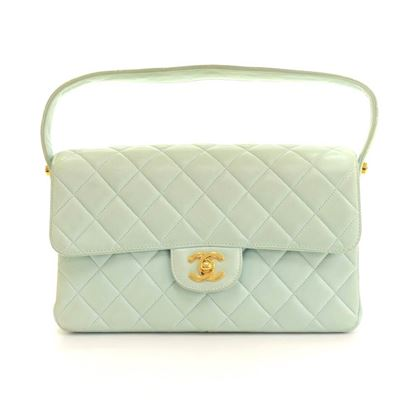 "Chanel 10"" Double Sided Light Green Cyan Quilted Leather Flap Handbag"