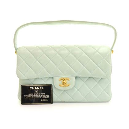 "Chanel 10"" Double Sided Light Green Quilted Leather Flap Shoulder Bag"""