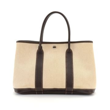 Hermes Beige Canvas and Brown Leather Garden Party TPM Tote Bag