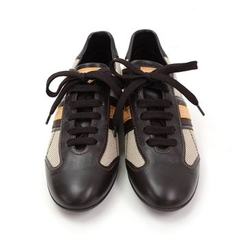 Louis Vuitton Dark Brown Leather & Canvas trainers