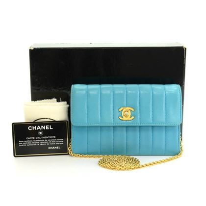 "Chanel 6"" Blue Vertical Quilted Leather vintage Shoulder Bag"