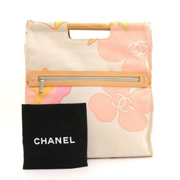 Chanel Off White Wooden Handle Tote Bag