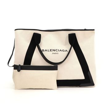 Balenciaga White Canvas Tote Bag + Pouch
