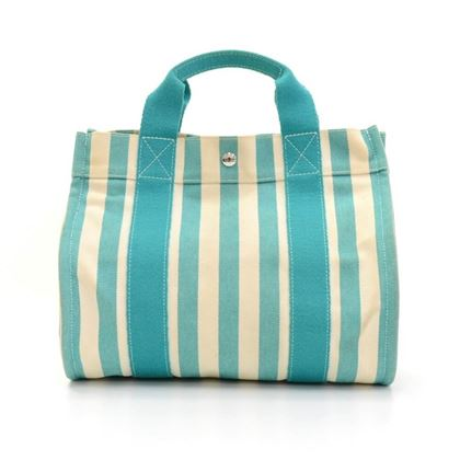 Hermes Cannes PM Cyan & Ivory Canvas Top Handle Bag