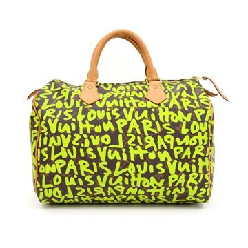 Louis Vuitton Limited Edition Green Speedy 30 Monogram Canvas Top Handle Bag