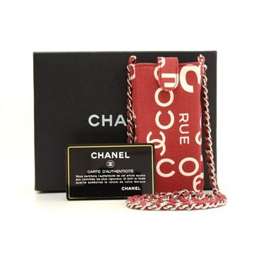 Chanel Red Canvas Mobile Phone Sunglasses Case