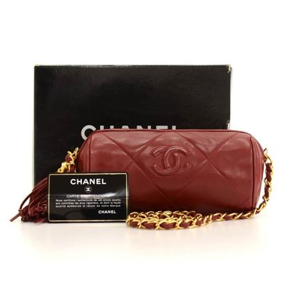 Chanel Dark Red Quilted Leather Handbag