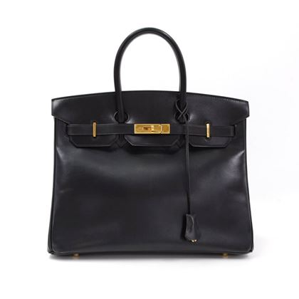 Hermes Birkin 35cm Black Box Calf Leather Gold Tone Hardware vintage top handle Bag
