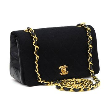 Chanel Very Rare Black Quilted Cotton & Leather Mini Shoulder Bag