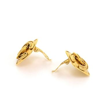 Chanel Gold Tone CC Logo Square Vintage CLip On Earrings