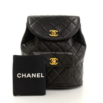 Chanel Black Quilted Lambskin Leather Vintage Backpack