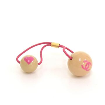 Chanel Pink CC Heart Rubber Hair Bobble