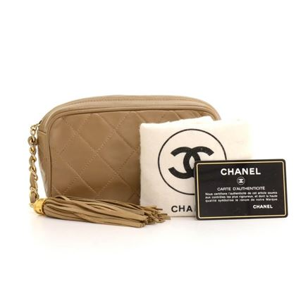 Chanel Brown Quilted Leather Tassel Clutch Bag