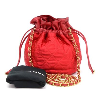 Chanel Red Quilted Satin Mini Bucket Shoulder Bag