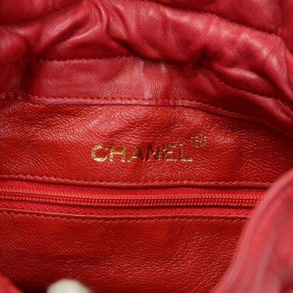 Vintage Chanel Red Quilted Satin Mini Bucket Shoulder Bag