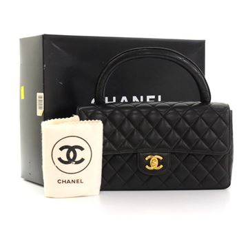 "Vintage Chanel 10"" Black Quilted Leather Flap Top Handle bag"