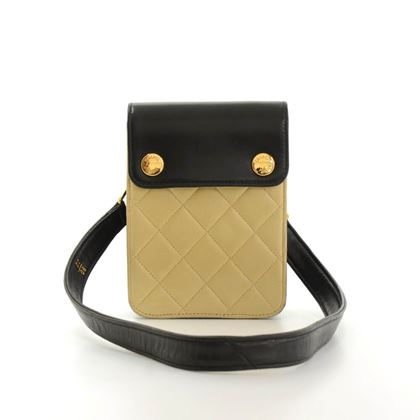 Chanel Black & Beige Quilted Leather 2 way Mini Bag Pouch