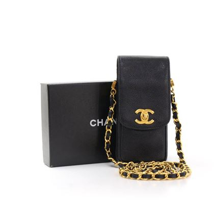 Chanel Black Caviar Leather CC Logo Chain Mini Crossbody Bag