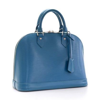 Louis Vuitton Alma NM Blue Cyan Epi Leather Top Handle Bag