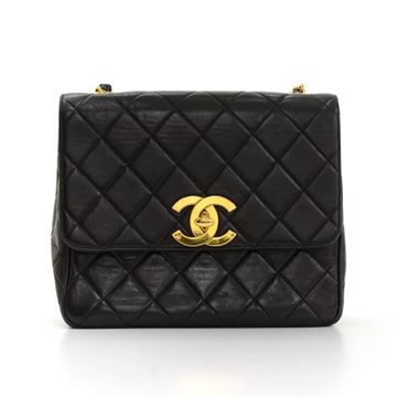 "Chanel 10"" Black Quilted Leather Shoulder Flap Bag"