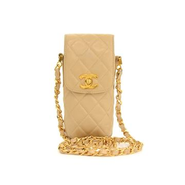 Chanel Beige Quilted Lambskin Leather Mini Shoulder Bag
