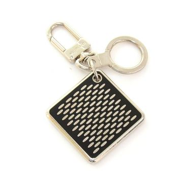Louis Vuitton Black and Silver Tone Key Ring