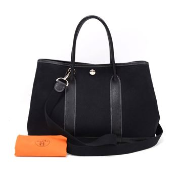 Hermes Garden Party TPM Black Leather Canvas Tote Bag