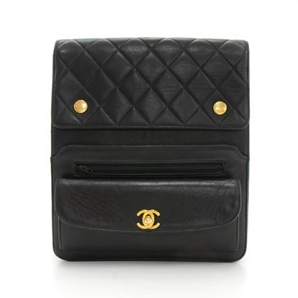 "Chanel 9"" Black Quilted Leather Shoulder Messenger Bag"