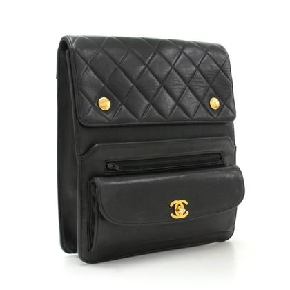 "Chanel 9"" Black Quilted Leather Shoulder/Messenger Bag"