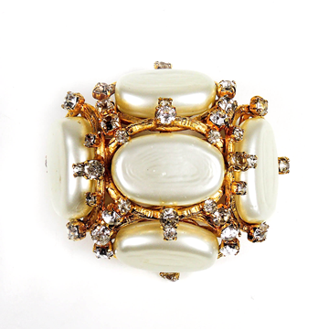 Chanel 1990s Xl Pearl Crystal Gold Charm CC Logo white vintage brooch