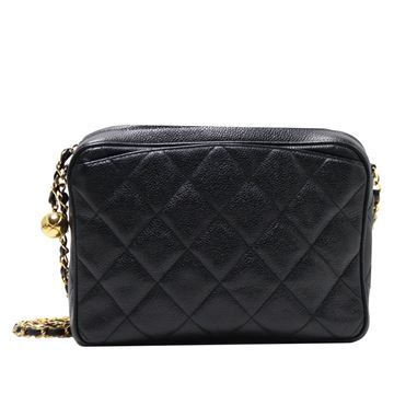 Chanel 1990s Quilted Caviar Leather Zip Top Black Camera Case Bag