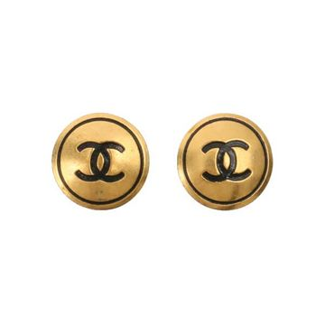 Chanel 1990s Round CC Logo Etched Gold Tone Earrings