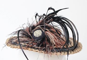 Vintage 1940s Black and Brown Straw Toy Hat