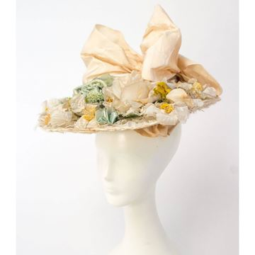 Antique 1910s Floral Peach and Green Hat