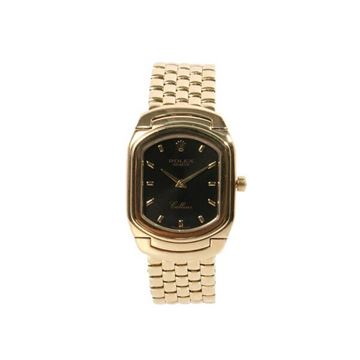 Rolex 1990s Cellini 18 Carat Gold Black Face Womens Watch