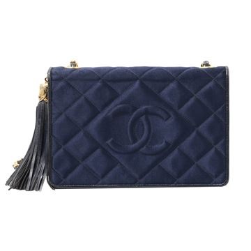 Chanel 1980s Quilted Navy Blue Silk Shoulder Bag