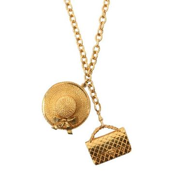 Chanel Flap Bag and Straw Sun Hat Charm Necklace