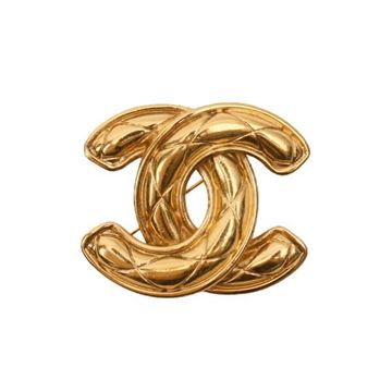 Chanel Quilted CC Logo Gold Tone Brooch