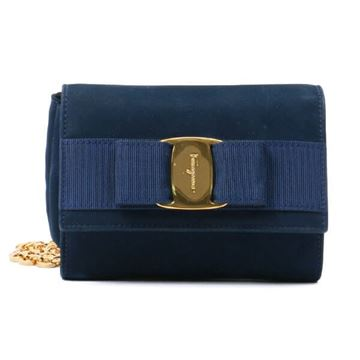 Salvatore Ferragamo Suede Vara Ribbon Navy Blue 3 Way Bag