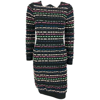 Missoni Knitted Multi-Coloured Striped Black Vintage Mini Dress