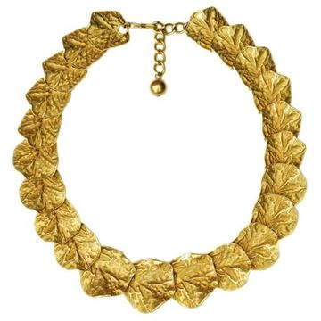 Kenneth Jay Lane 1990s Gold Plated Layered Gingko Leaf Vintage Necklace