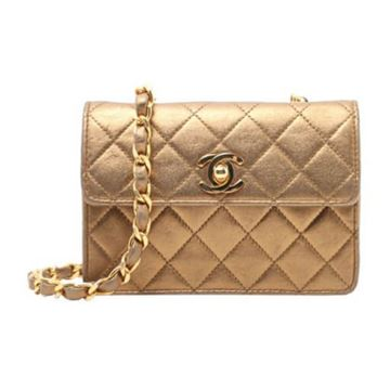 Chanel 1980s Quilted Leather Gold Mini Flap Bag