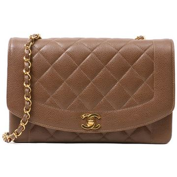 Chanel Quilted Caviar Leather Chocolate Brown Diana Bag