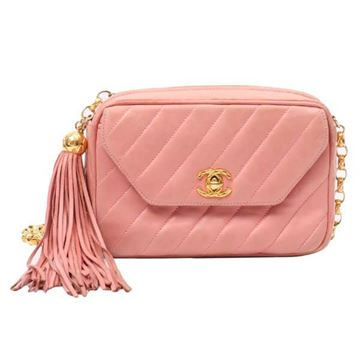 Chanel Stripe Quilted Tassel Zip Pull Pink Camera Case Bag